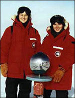 Jill Rathborne and Jessica Dempsey, when they were students, during an expedition to the AASTO observatory at the South Pole.